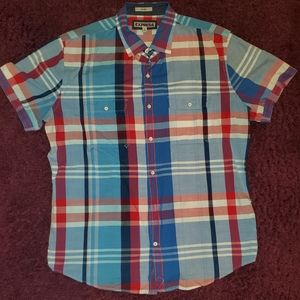 EXPRESS | Fitted Plaid Button-Down Shirt XL